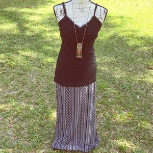 Joe B Medium Black Aztec Side Slit Maxi Skirt
